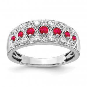 Primal Gold 14 Karat White Gold Diamond and Ruby Fancy Ring
