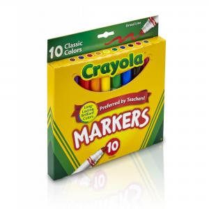 (2 Pack) Crayola Broad Line Markers, Classic Colors, School Supplies, 10 Count
