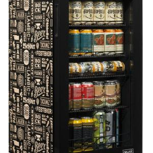 """NewAir """"Beers of the World"""" Custom Designed Freestanding 126 Can Beer Fridge with SplitShelf™, Chills Down to 32 Degrees"""