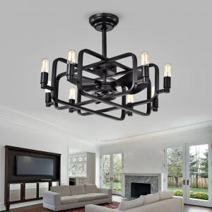 Usard Black 32-inch 8-light Lighted Ceiling Fan Fandelier Remote Controlled