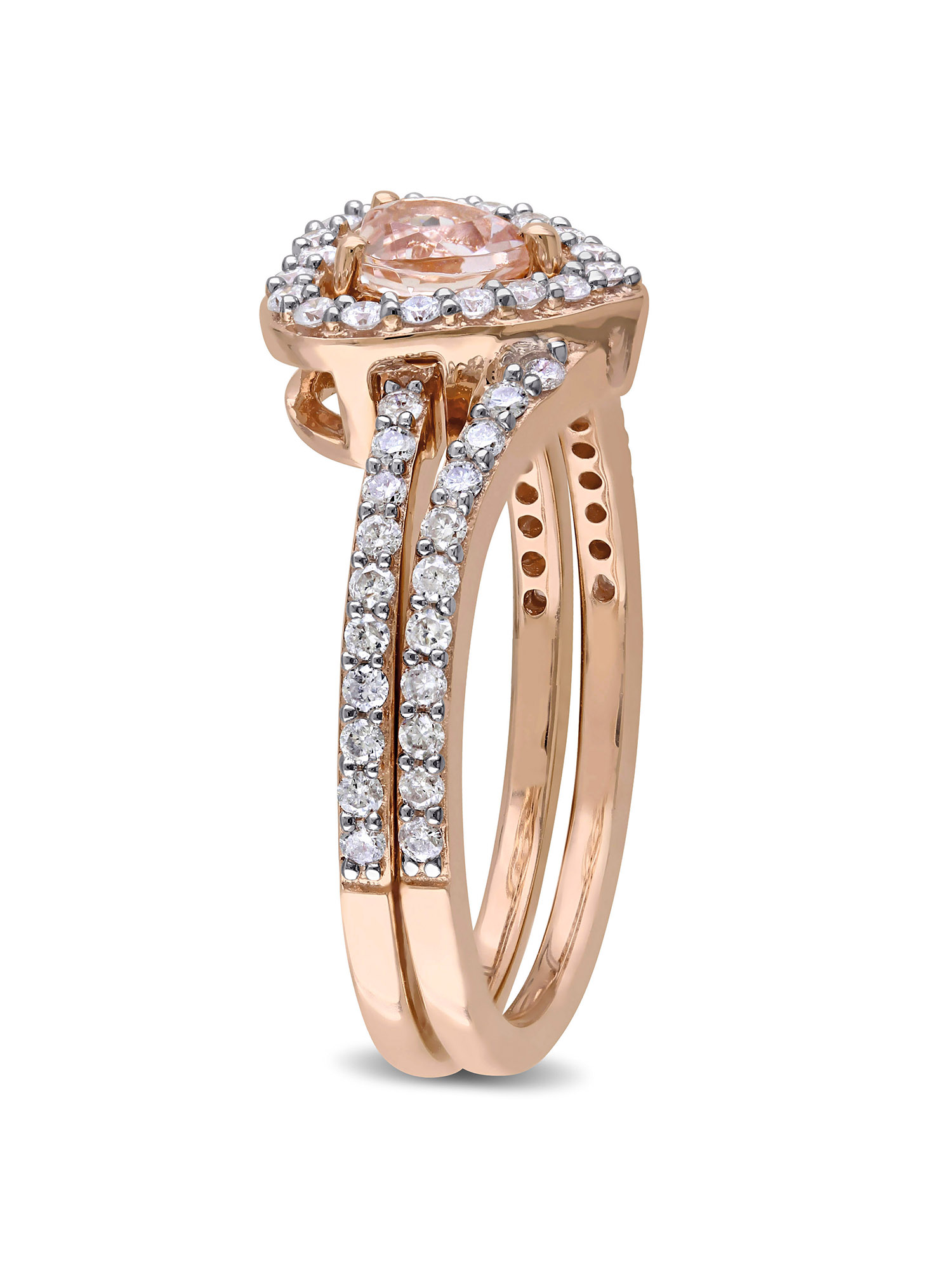 1/2 Carat T.G.W. Morganite and 1/2 Carat T.W. Diamond 10kt Rose Gold Interlocking Heart Bridal Set