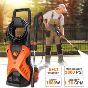 2800PSI Electric Pressure Washer 1.76GPM 1800W Powerful Pressure Washer with Spray Gun, Foam Cannon, GFCI Protection