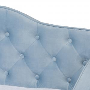 Baxton Studio Freda Button Tufted Twin Size Daybed with Trundle, Light Blue