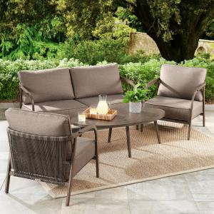 Better Homes & Gardens Arlo 4-Piece Patio Loveseat Set with Beige Cushions