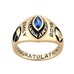 Personalized Women's 10K Gold Traditional Marquise Stone Class Ring