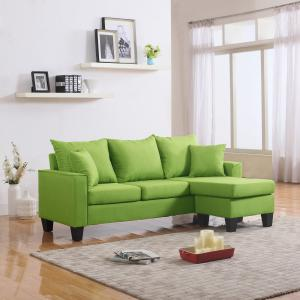 Mobilis Modern Linen Fabric Small Space Sectional with Reversible Chaise, Green