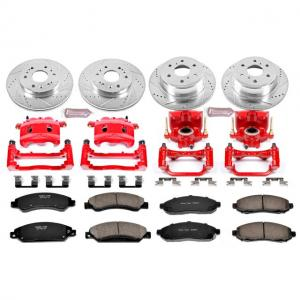 Power Stop Front and Rear Z23 Evolution Brake Pad and Rotor Kit with Red Powder Coated Calipers KC2068