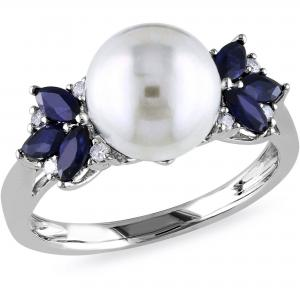 9-9.5mm White Cultured Freshwater Pearl and 5/8 Carat T.G.W. Sapphire with Diamond-Accent 10kt White Gold Cocktail Ring