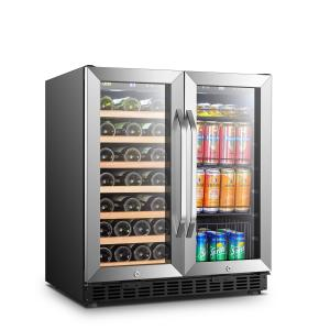 Lanbo 70 Can 33 Bottle Black Dual Zone Wine Cooler Beverage Refrigerator with Stainless Steel Frame