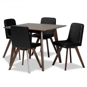 Baxton Studio Pernille Modern Transitional Black Faux Leather Upholstered Walnut Finished Wood 5-Piece Dining Set