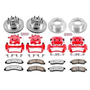 Power Stop Front and Rear Z36 Truck & Tow Brake Pad and Rotor Kit with Red Powder Coated Calipers KC1892-36