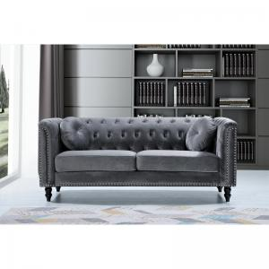 Connally Chesterfield 76″ Rolled Arms Sofa, Gray
