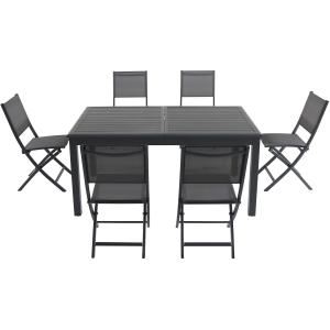 Hanover Cameron 7-Piece Expandable Dining Set with 6 Folding Sling Chairs and a 40″ x 94″ Table