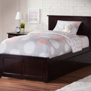 Madison Twin Platform Bed with Matching Foot Board with Twin Size Urban Trundle Bed in Espresso