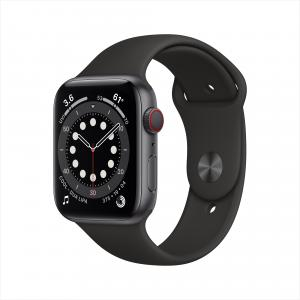 Apple Watch Series 6 GPS + Cellular, 44mm Space Gray Aluminum Case with Black Sport Band – Regular