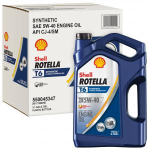 (12 Pack) Shell Rotella T6 5W-40 Full Synthetic Heavy Duty Diesel Engine Oil, 1 gal (3-pack)