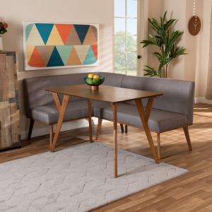 Baxton Studio Odessa Mid-Century Modern Grey Fabric Upholstered and Walnut Brown Finished Wood 3-Piece Dining Nook Set