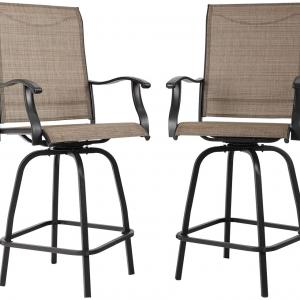 MF Studio Outdoor Swivel Bar Stools Height Bar Bistro Chair with All Weather Steel Frame, 2 Pack