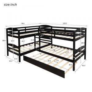 Twin L-Shaped Bed Frame with Trundle Double Teens Kids Wooden Bunk for Overnight Guests Mattress Foundation