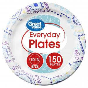 Great Value Everyday Paper Plates, 10″, 150 Count