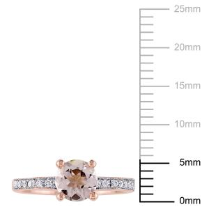 4/5 Carat T.G.W. Morganite and 1/4 Carat T.W. Diamond 14kt Rose Gold Engagement Ring
