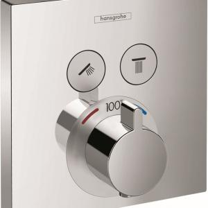 Hansgrohe ShowerSelect Thermostatic Trim for 2 Functions, Square in Chrome