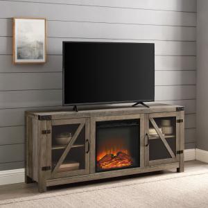 Manor Park Farmhouse Fireplace TV Stand for TVs up to 65″, Grey Wash