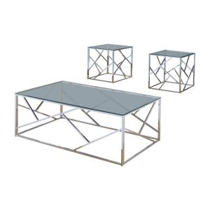 Furniture of America Roth Contemporary 3-Piece Coffee Table Set, Chrome