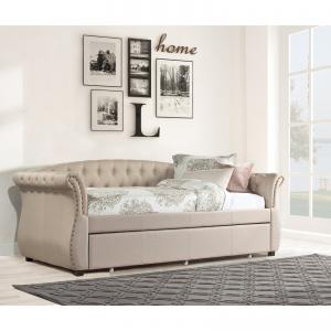 Hillsdale Harlow Upholstered Tufted Twin Daybed and Trundle, Soft White/Linen Sandstone