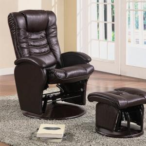 Casual Brown Faux Leather Reclining Glider With Matching Ottoman ( 600165 )