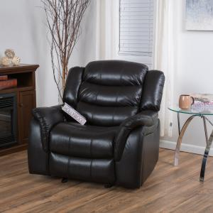 Noble House Mason Black Leather Recliner/Glider Chair