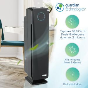 GermGuardian Air Purifier with True HEPA Filter, UV-C 4-in-1 AC5300B 28-Inch Tower