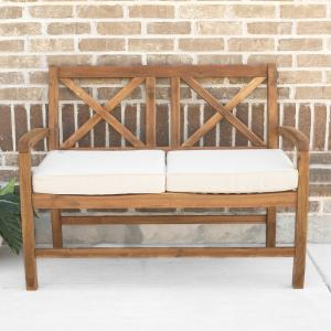 Manor Park X-Back Outdoor Patio Loveseat with Cushions, Brown