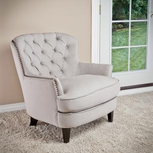 Noble House Gabriel Tufted Fabric Club Chair Color Natural