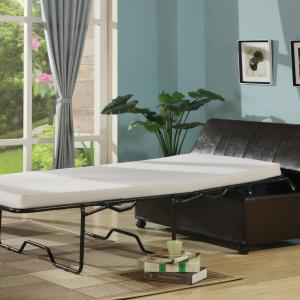 Fold Out Ottoman Sleeper Bed with Mattress – Dark Brown