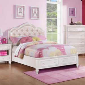 Coaster Company Caroline Collection Full Storage Bed, White Painted