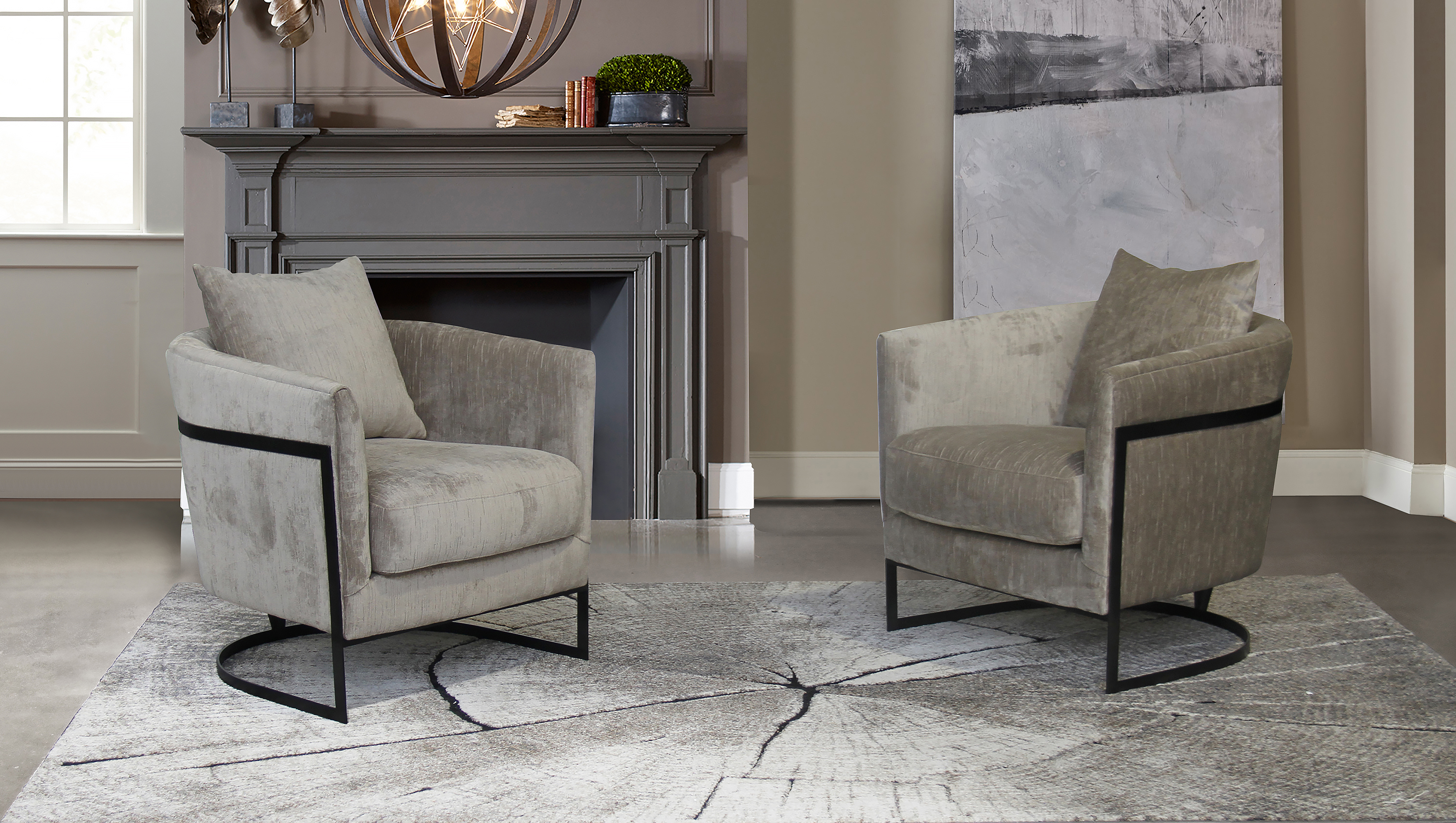 Armen Living Swan Contemporary Accent Chair with Black Iron Finish/Beige Fabric