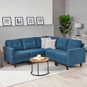 Noble House Miller Mid Century Modern 5 Piece Fabric Sectional Sofa,Navy Blue