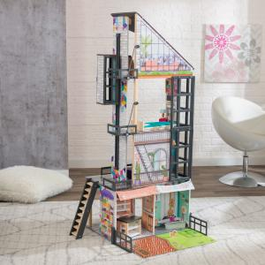 KidKraft Wooden Bianca City Life Dollhouse with EZ Kraft Assembly™ with 26 Accessories Included