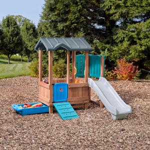 Step2 Woodland Adventure Playhouse & Slide Outdoor Wood Play Set with Slide