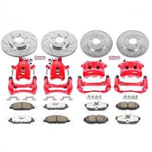 Power Stop Front and Rear Z26 Street Warrior Brake Pad and Rotor Kit with Red Powder Coated Calipers KC1383-26