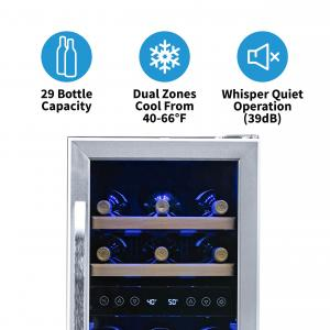 NewAir Wine Cooler 29 Bottle Capacity Under Counter Built In Dual Zone Refrigerator, AWR-290DB Stainless Steel