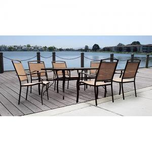Mainstays Sand Dune Outdoor Patio Dining Set, Metal Sling 7 Piece, Tan