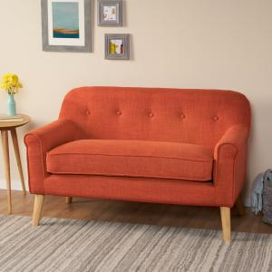 Noble House Camden Mid Century Modern Loveseat,Muted Orange
