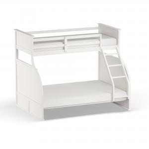 Furniture of America Luke Cottage Wood Bunk Bed, Twin/Full, White