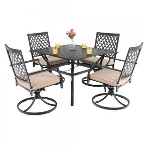 MF Studio Patio Club Bistro Swivel Dining Chairs with Cushions and Larger Square Table Furniture Set of 5