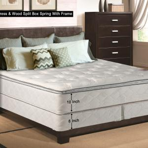 Wayton, 10-Inch medium plush Pillowtop Innerspring Fully Assembled Mattress And 8-Inch Wood Box Spring/Foundation Set With Frame, Good For The Back, California King Size