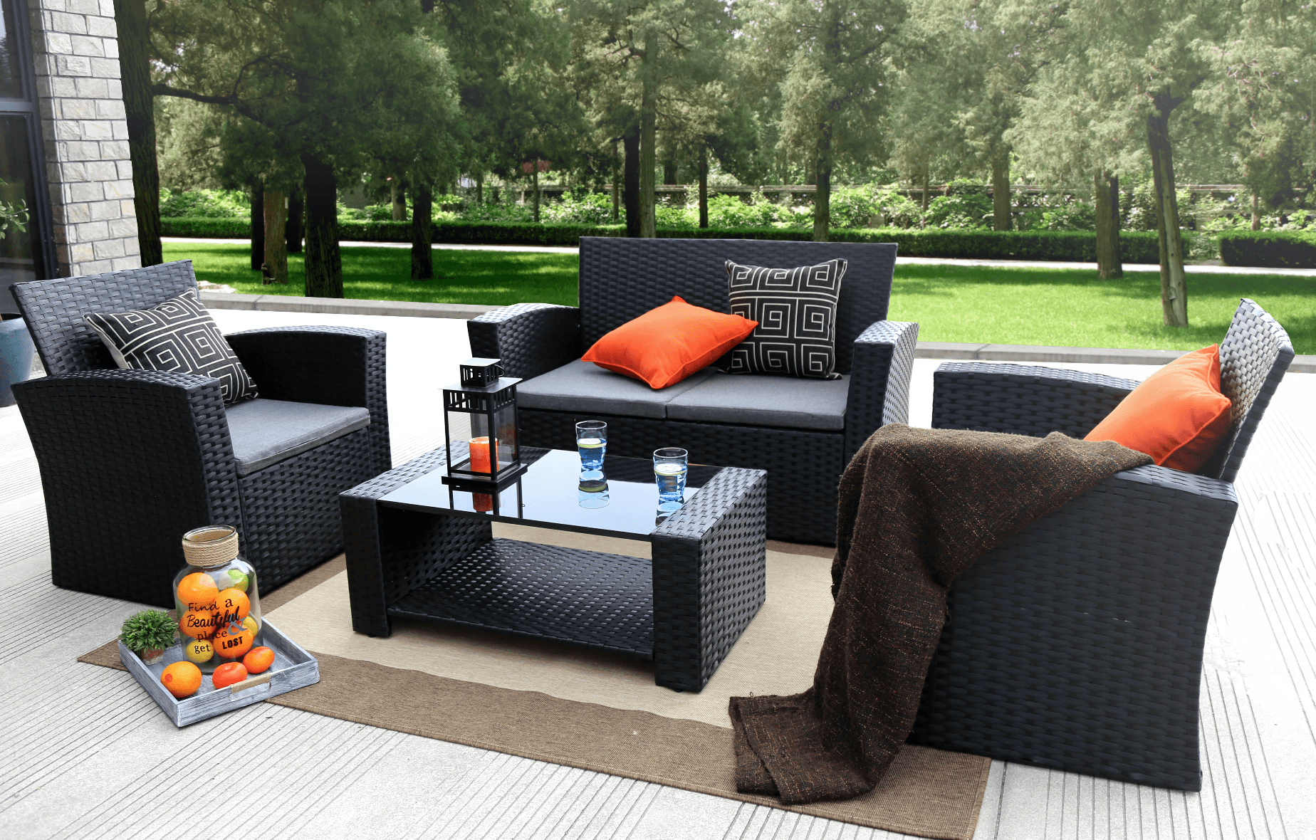 Baner Garden Complete Patio 4 Piece Rattan Wicker Conversation Set