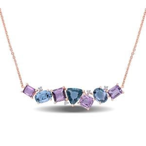 4-1/3 Carat T.G.W. Multi-Color Spinel and Diamond-Accent 14kt Rose Gold Bar Necklace