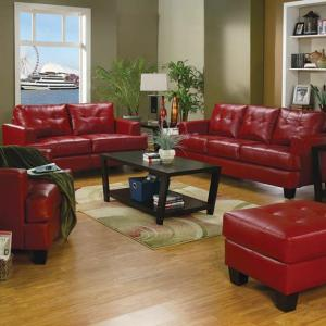 Samuel Transitional Red Sofa/Couch